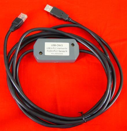 USB-CNV3:Fuji N-series PLC (NB, NJ, NS, NW0) USB programming cable,USB/RS422 interface,3 meters,with communication indicator.