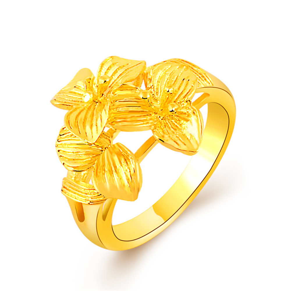 Hot Selling Gold Ring For Women 24k Three Petals Flowers Rings Custome Jewelry Charms Vintage Unice Accessories Size #6#7#8#9# ...