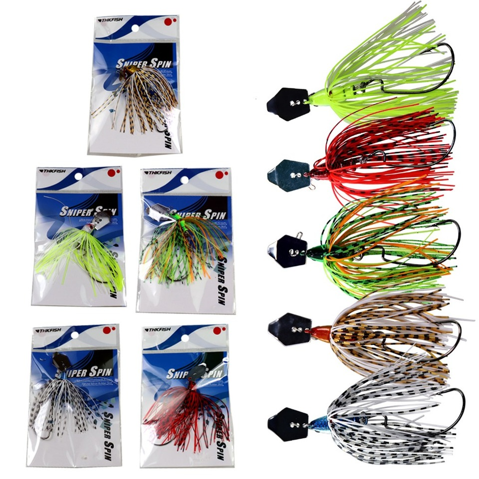 6pcs 0.46Oz Chatterbait Blade Chatter Bait Silicone Skirt Bass Fishing Jig Lures