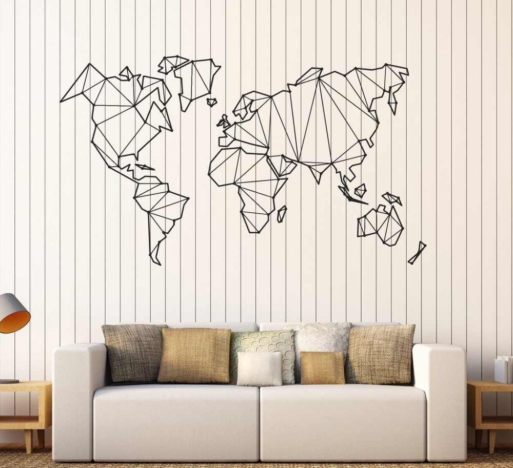 wall stickers for living room abstract map world geography wall stickers vinyl wall 18180
