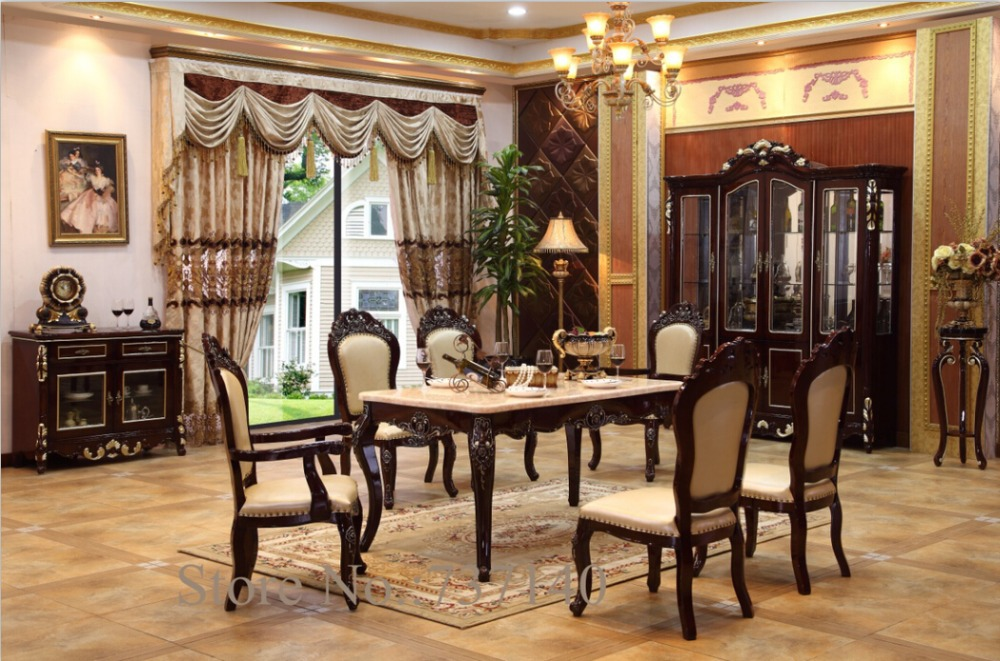 Furniture Group Buying Dining Table Antique Room Set Home Solid Wood And Chairs Wholesale Price
