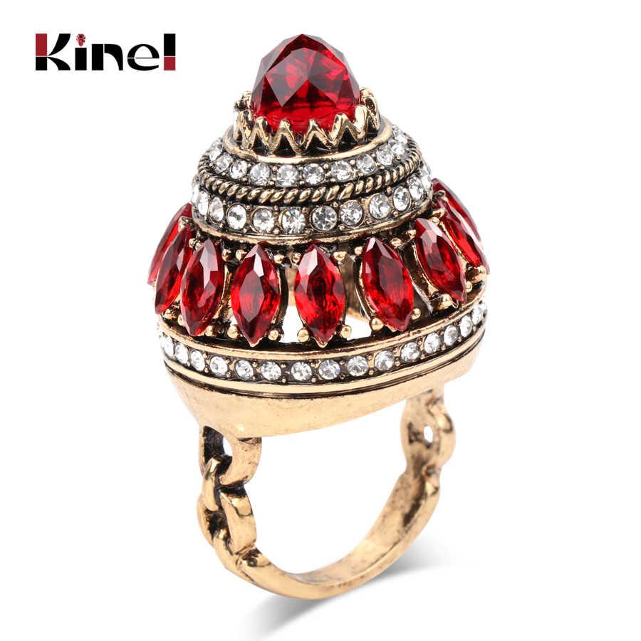 Kinel Горячие большие винтажные кольца турецкие ювелирные изделия уникальный природный камень кольца для женщин античное золото вечерние благородный кристалл подарок 2018 Новый