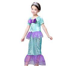 Crianças Meninas Vestidos de Sereia Traje Da Princesa Festa Vestido de Fadas Cosplay