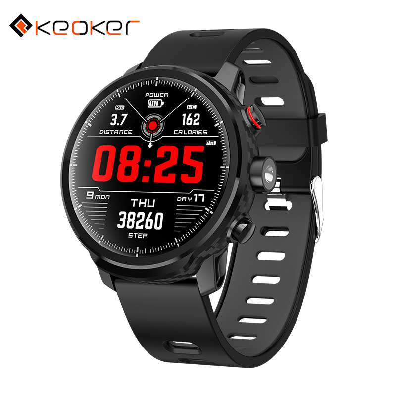 Keoker L5 Smart Watch Full Touch Screen LED Light IP68 Waterproof Continuous Heart Rate Monitor Smart