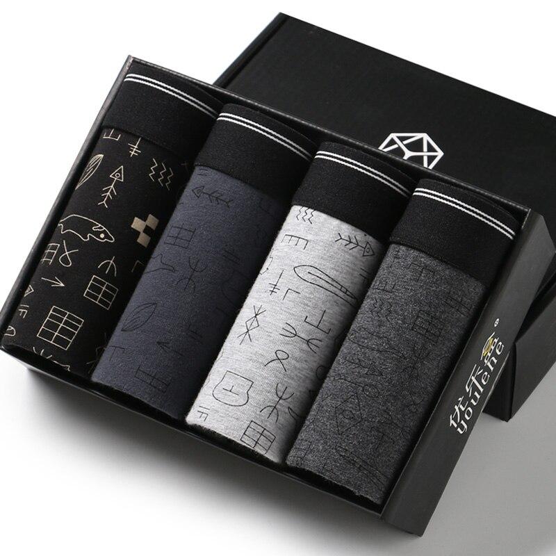 4 pièces/boîte hommes Boxed Boxer Shorts hommes sous-vêtements Sexy qualité coton sous-vêtements marque cadeau paquet Boxer Homme