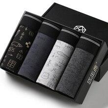 4 stks/doos mannen Boxed Boxer Shorts Mannen Ondergoed Sexy Kwaliteit Katoen Onderbroek Merk Gift Pakket Boxer Homme