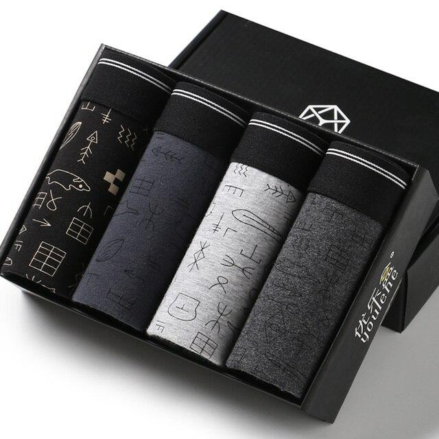 Calzoncillos Bóxer en caja de algodón para hombre, ropa interior, Sexy, marca de calzoncillos, paquete de regalo, 4 unidades