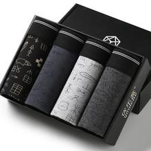 Cueca boxer masculina, 4 pçs/caixa cueca de algodão de qualidade sexy