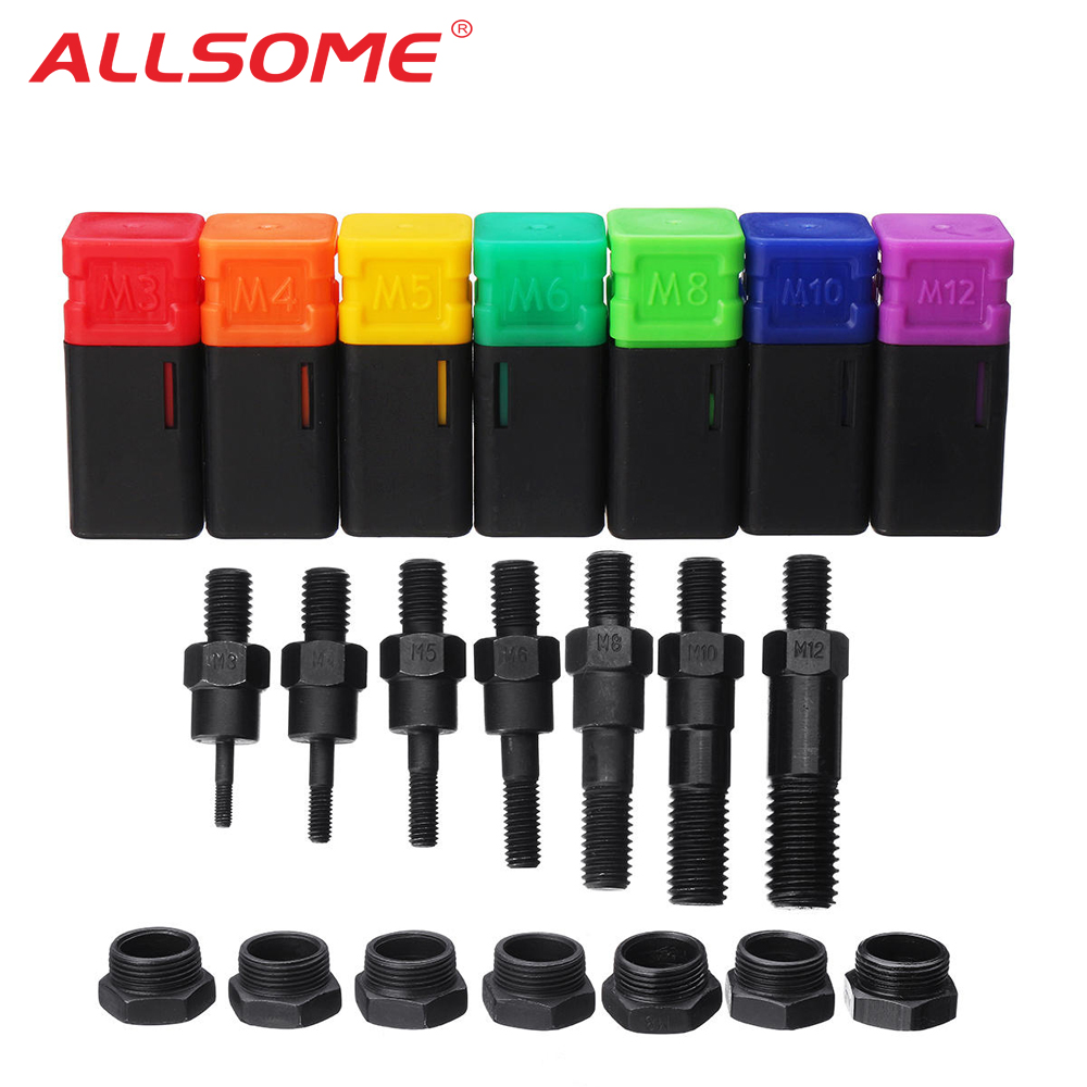 ALLSOME Riveter Gun Part Threaded Mandrel Replacement For Hand Nut Rivet Metric M3-M12 HT2775+