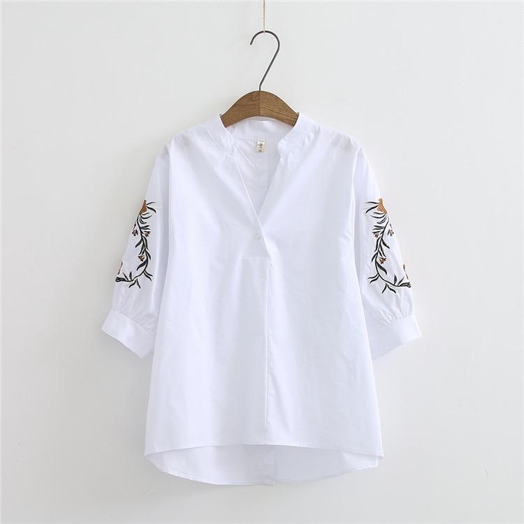 V Blusa Bordado Mujer Vintage Nuevas Llegadas Cuello Camisas De Wt Manga Casual Larga Mujeres Diseño Primavera En q5vAd