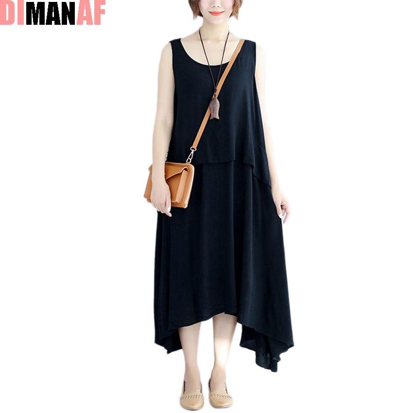 250db37b293b 2017 Plus Size Summer Style Women Dress Solid Print Sundress Cotton Beach Casual  Loose Sleeveless Black Dresses Oversize 100kg