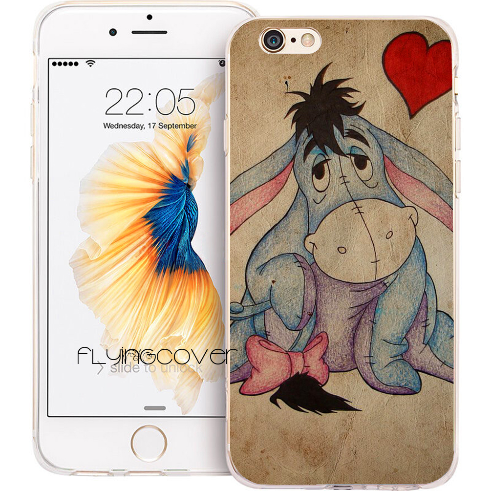 Fundas Cartoon Eeyore Clear Soft TPU Silicone Phone Cover for iPhone X 7 8 Plus 5S 5 SE 6 6S Plus 4S 4 5C iPod Touch 6 5 Case