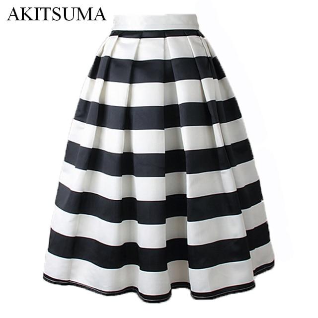 add646a7d AKITSUMA Fashion A-Line Striped Skirts Womens Casual Pleated Midi Skirt  Polyester Spring Autumn Zipper Skirts