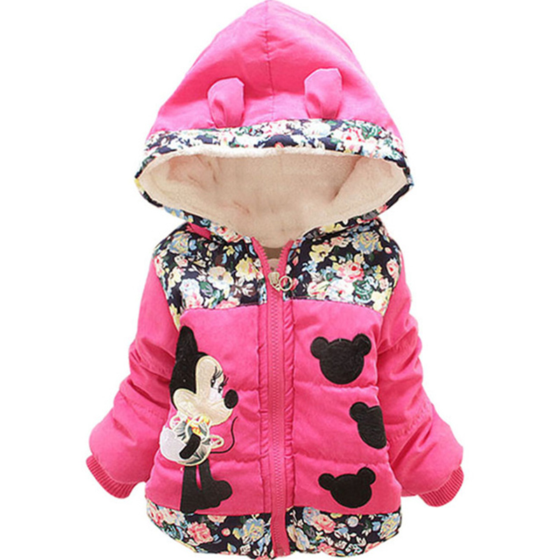 New 2018 Autumn & Winter Children Minnie Hoodies Jacket & Coat Baby Girls Clothes Kids Toddle Outerwear Warm Coat Age 1-4T
