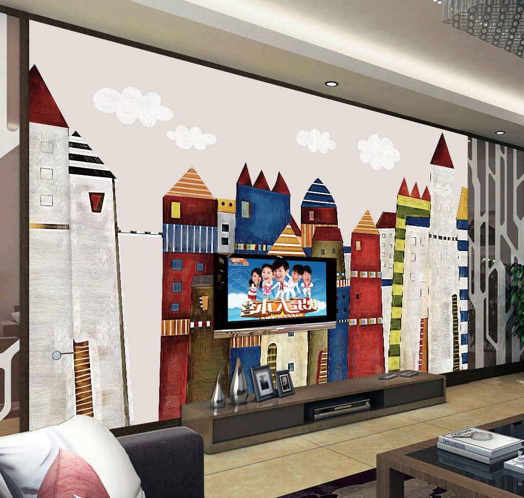 Cartoon castle sketch art landscape photo wallpaper 3 d for Castle mural kids room
