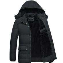 5XL Plus lining man jacket coats Fashion Hooded Winter Coat Men Thick Warm Mens Jacket Father Gift Parka size Black