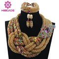 Luxury Champagne Gold Indian Bridal Women Jewelry Set Twisted Chunky Multicolor Beaded Nigerian African Jewelry Free Ship WD751