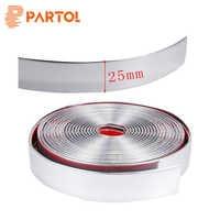 Partol 25mm x 5m PVC Chrome Silver Strip Molding Trim Strip Car-styling Exterior Decoration Bumper Grille Styling trucks SUVs