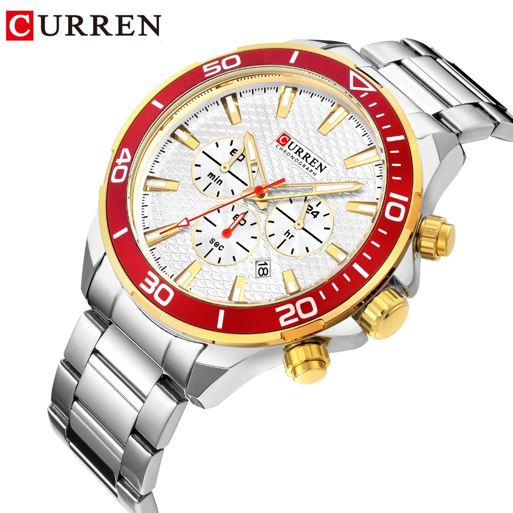 CURREN Top Brand Fashion Mens  Watch 2018 Stainless Steel Quartz Curren Watches Waterproof Luxury Male Clock