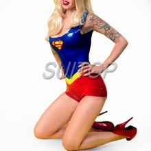 new Item 100% nature rubber Superman suits latex teddies leotard for female Hollyhood uniforms woman