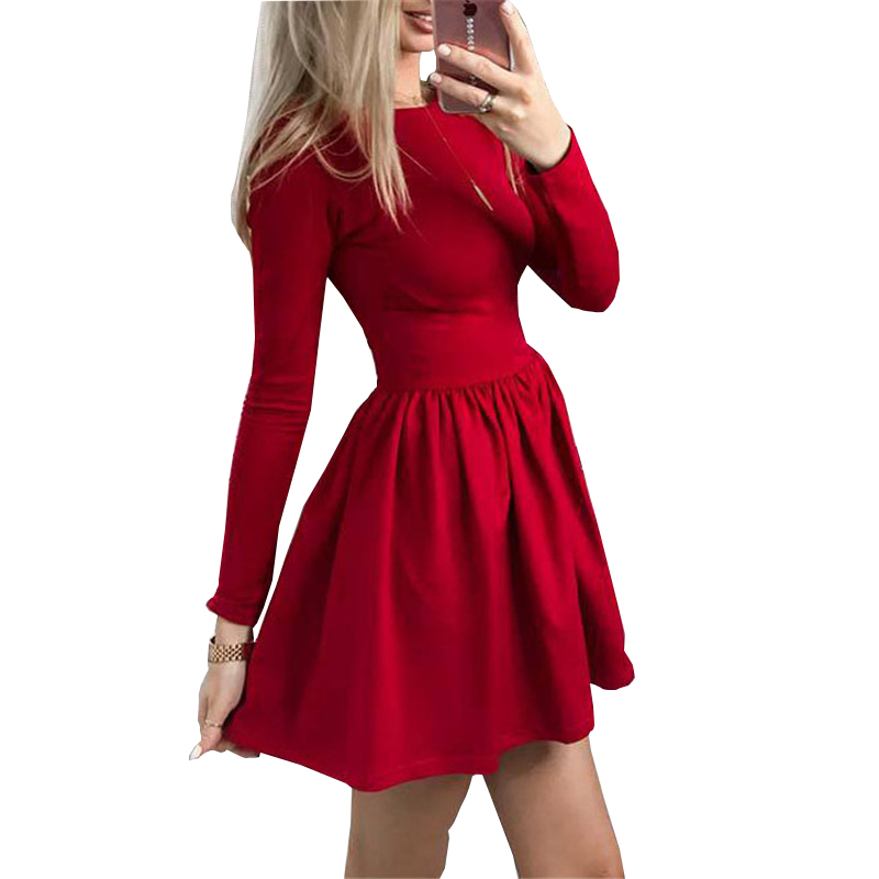 c86f622208 2018 Party Dress Spring Women Long Sleeve Ruffle Sexy Casual Kawaii Solid  A-Line Dress