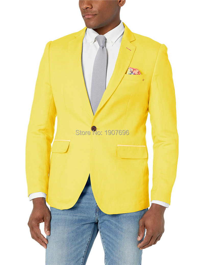 Yellow Single Men Blazer For Prom Man Tops Suit Jacket Notched Lapel New Fashion Coat FOVIVA Style 072202