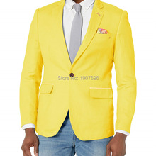 Yellow Single Men Blazer for Prom Man Tops Suit Jacket Notched Lapel New Fashion