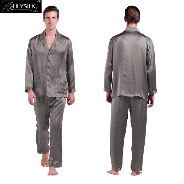 Lilysilk 100% Pure Silk Mens Long Pajamas Set 22 Momme Long Sleeves Elastic Waist Classic Luxury Sleepwear Brand Clearance Sale