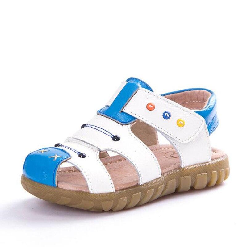 Suvel lapsed sandaalid Armas lapsed ehtne nahast kingad Kvaliteetne väikelapse poisid suletud varba randa sandaalid sandalen jongen