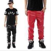 Más tamaño negro rojo pu Faux cuero Pantalones casual Jogger hip hop Pantalones hombres Niños m-3xl