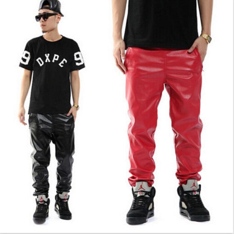 Plus Size Black Red PU Faux Leather Pants Casual Jogger Hip hop Trousers Men Boys M 3XL