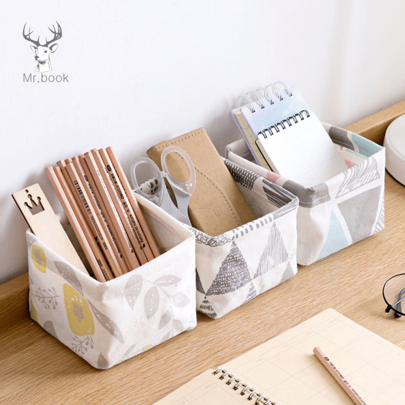 Cute Geometric Patterns Printing Canvas Office Desktop Storage Organizer Stationery Holder Storage Box Desktop Cosmetic Box