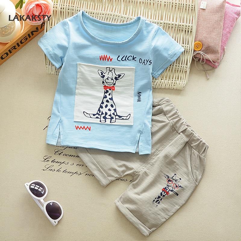 Katoen Kinderkleding Set Korte Mouwen Zomer Peuter Jongens Kleding Vest + Broek Pak Voor Kinderen Cartoon Giraffe Jongens Kleding