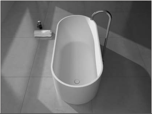 1550x700x500mm Solid Surface Stone CUPC Approval Bathtub Oval Freestanding Corian Matt white Finishing Tub RS6583
