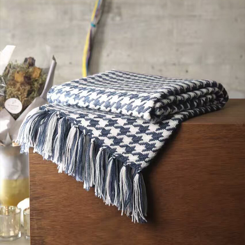 ФОТО ADREAM New Acrylic blanket, blue and Beige grid scarf, Sofa Bed Square blankets, tassel, Four seasons multipurpose quilt