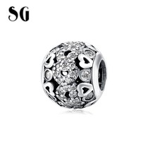 SG authentic 925 Sterling Silver love heart hollow charms beads with CZ fit original pandora bracelets jewelry making for women