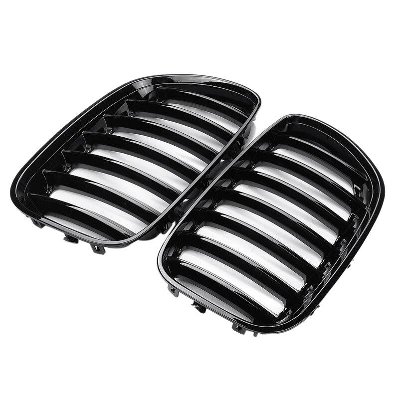 1 paire de Grilles de calandre avant de voiture noir brillant pour Bmw X5 E53 2004 2005 2006 Abs 51137124815 51137124816