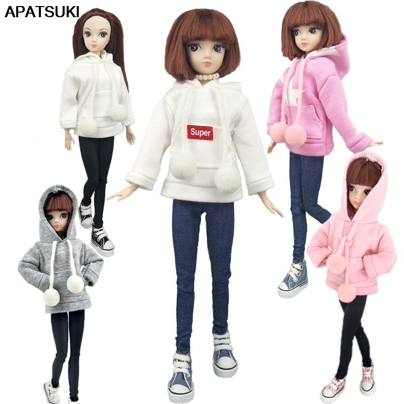 Fashion Doll Clothes Sweatshirt Coat For Barbie Doll Clothes For Barbie Doll Outfits Pants Canvas Shoes 1/6 Dolls Accessories