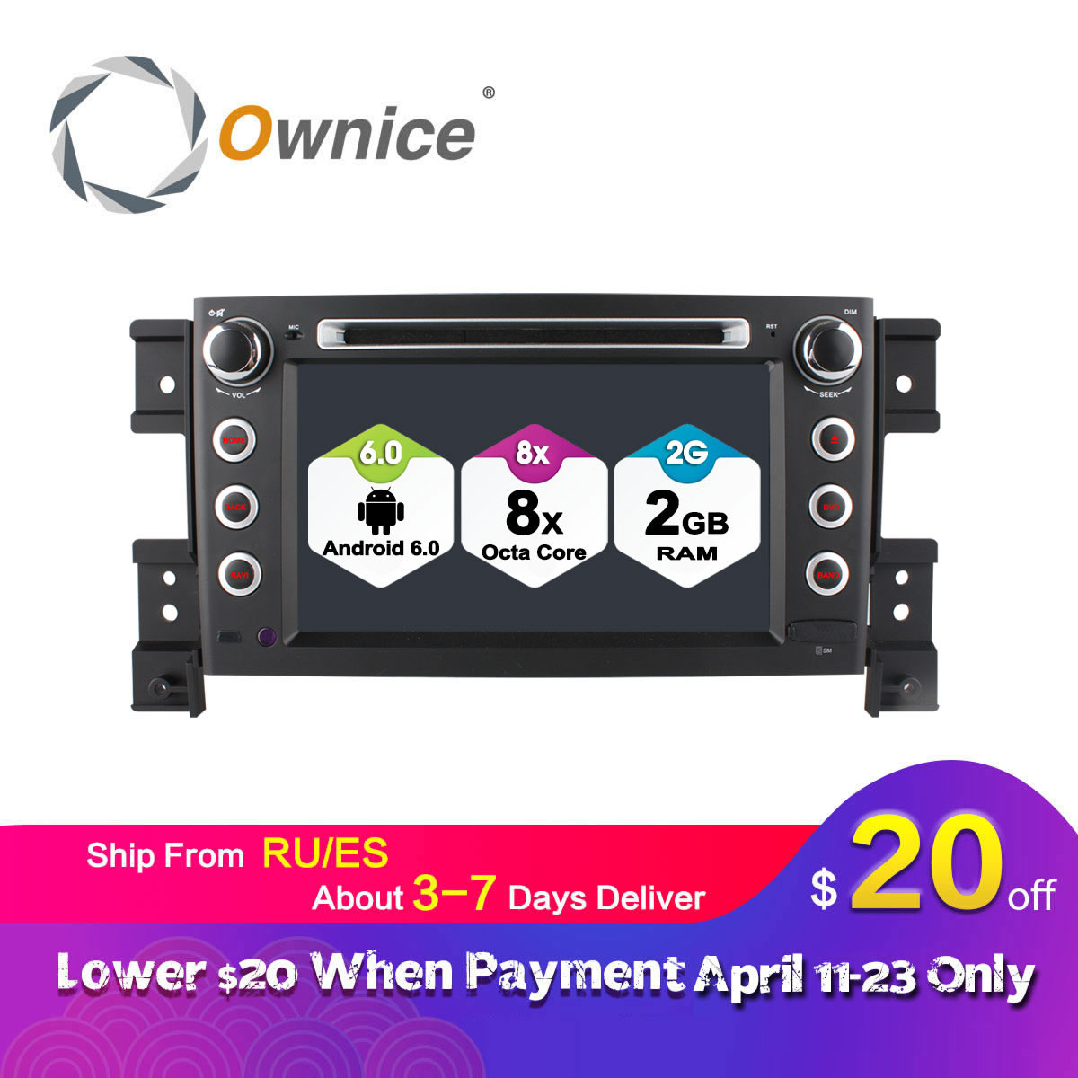 Ownice C500 Android 6.0 Octa 8 Core lecteur DVD de Voiture pour Suzuki Grand Vitara Android 6.0 Wifi 4G GPS BT Radio 2 GB RAM 32 GB ROM