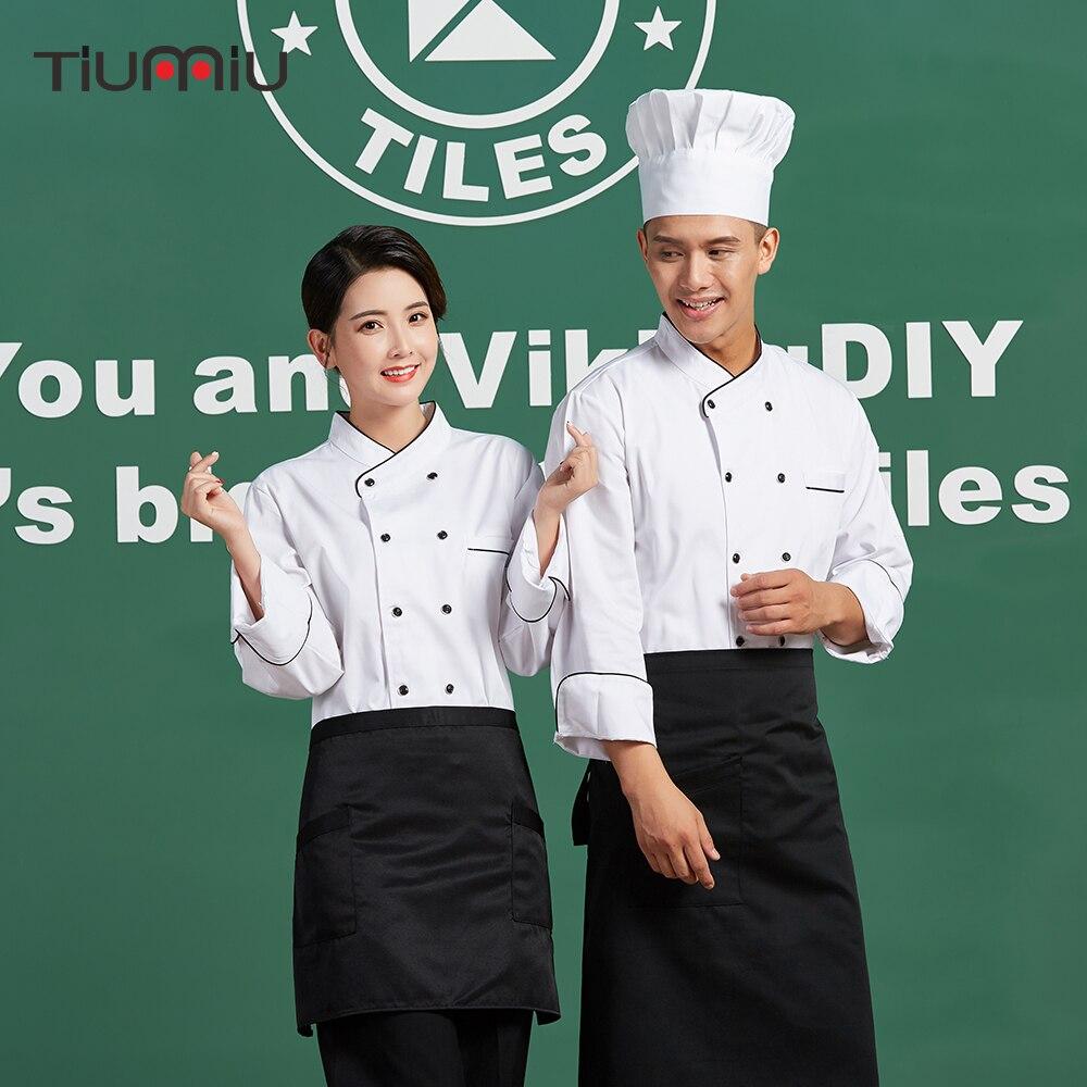Chef Jacket Unisex Chef Work Uniforms Restaurant Bakery Kitchen Work Wear Cloth Long Sleeve Breathable Cook Coats Wholesale