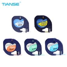 TIANSE 5pcs for DYMO LetraTag Tape 91201 91202 91203 91204 91205 LT Mix Color 4m*12mm Laminated Label Printer
