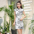 Women Retro Slim Summer Traditional Chinese Dress Cheongsam Qi Pao Ink Chinese Bamboo Print Short Cheongsams