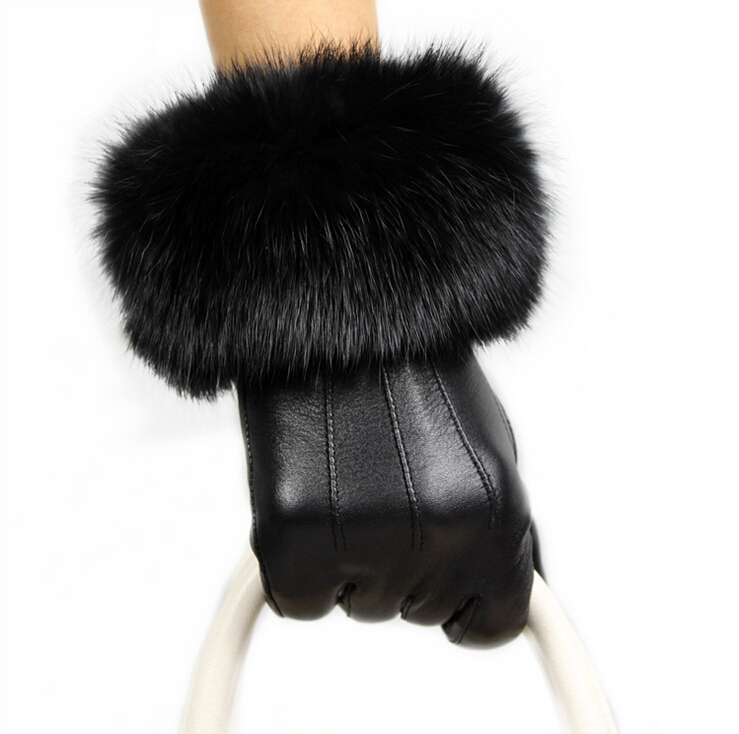 Friendly Touching Screen Genuine Leather Gloves Women Womens Gloves Rabbit Fur Ladies Fur Mittens Winter Gloves Ski Water Proof 100% Original Women's Gloves