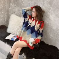 hooded women sweaters 2018 autumn winter new lady pullovers argyle knitted loose female warm hooded sweaters outwear tops
