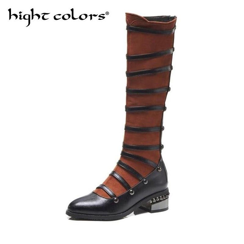 Éclair Noir Dame Personnalité brown Chaussures Nous Nouveau Angleterre Haute Pour Femmes Fermeture Chevalier Black Bout Rond Genou Bottes Mode 18 cK1lFJ