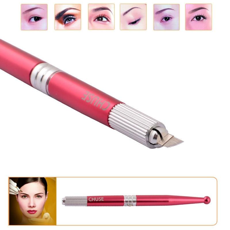 도매 상자 10pcs / lot Chuse M5 최고 품질의 알루미늄 영구 영원한 눈썹 메이크업 수동 문신 펜 레드 무료 배송