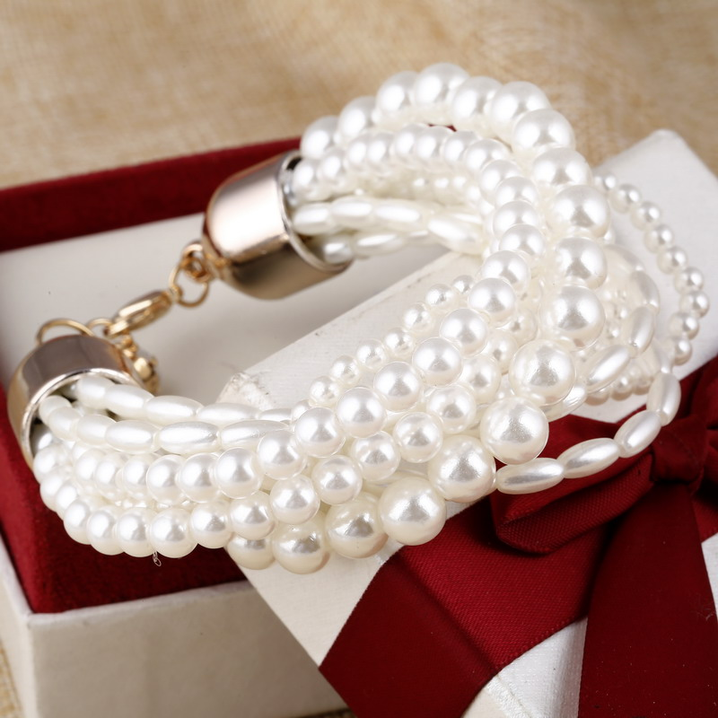 ZOSHI Fashion Accessories Simulated Pearl Multilayer Elastic Charm Bracelets Women Accessories Free Shipping Bracelets & Bangles