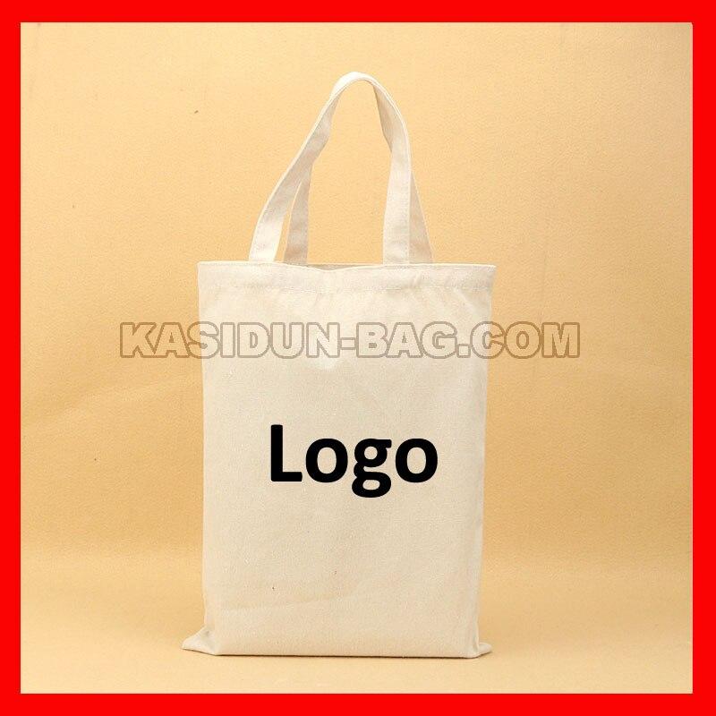 (100Pcs/Lot) Customize Natural White Black Tote Bag Cotton