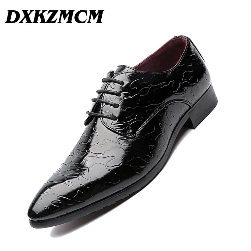DXKZMCM Microfiber Leather Men Dress Shoes Pointed Toe Bullock Oxfords Shoes For Men, Lace Up Designer Luxury Men Shoes lttl mixed color men dress shoes fashion pointed toe oxfords shoes for men lace up designer leather shoes men formal shoes