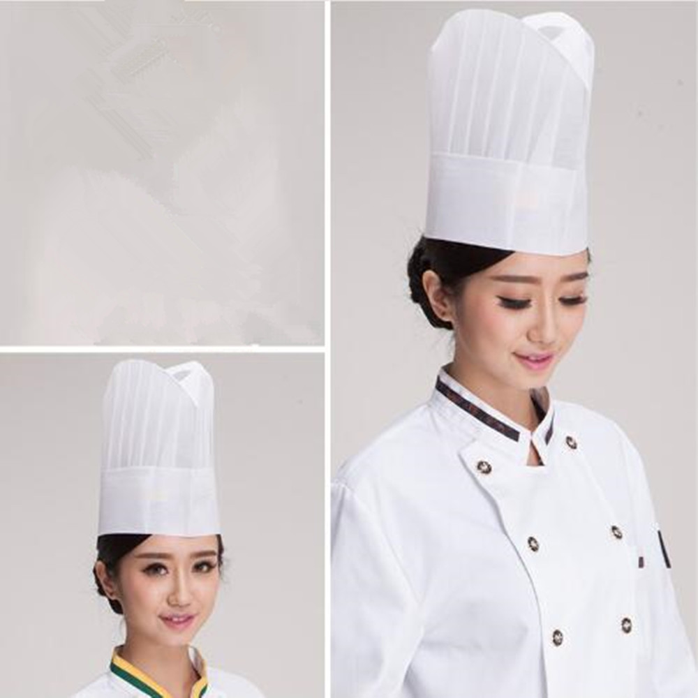 5Pcs Disposable Chef Hat Non Woven Paper Middle Low Hat Restaurant Bar Work Cap Men Women BBB0441